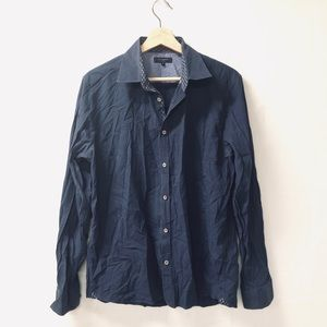 Ted Baker Sz 4 Navy blue button up blouse